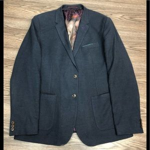 Ted Baker Navy & Blue Check Knit  Blazer XL or 7
